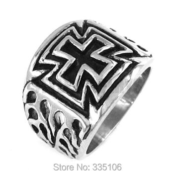 ! Classc Flame Cross Ring Stainless Steel Jewelry Cool Tribal Motor Biker Ring SWR0195